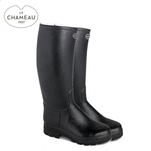 Le Chameau Saint Hubert 44 Cm Calf Leather Lined Wellington Boots - Noir (Mens)