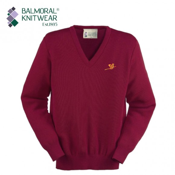 Balmoral Knitwear V-Neck Jumper with Pheasant Motif - Burgendy