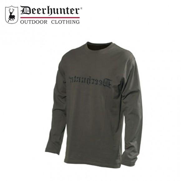 Deerhunter Logo T Shirt L/S Bark Green