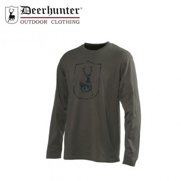 Deerhunter Shield Logo T Shirt L/S Bark Green