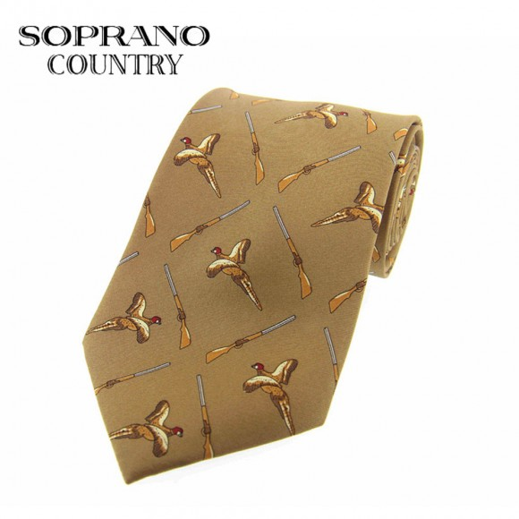 Sax Soprano Flying Pheasant And Gun Printed Silk Shooting Tie