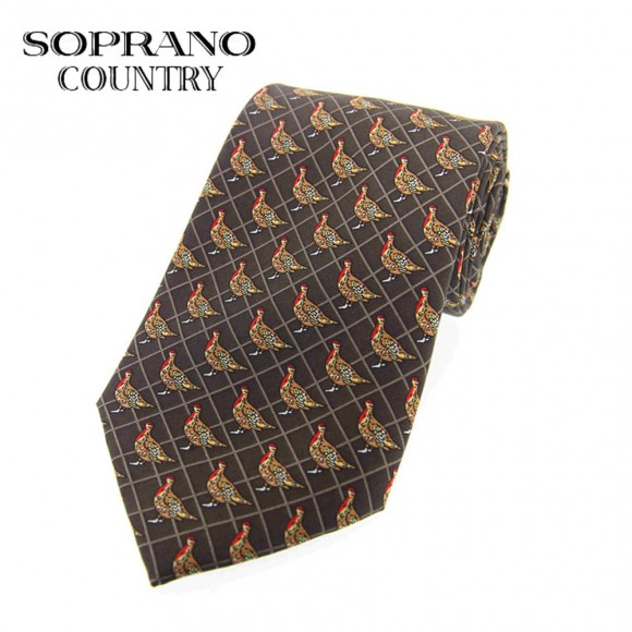 Sax Soprano Red Grouse Printed Silk Shooting Tie