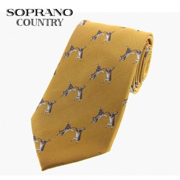 Sax Soprano Boxing Hares Woven Silk Shooting Tie