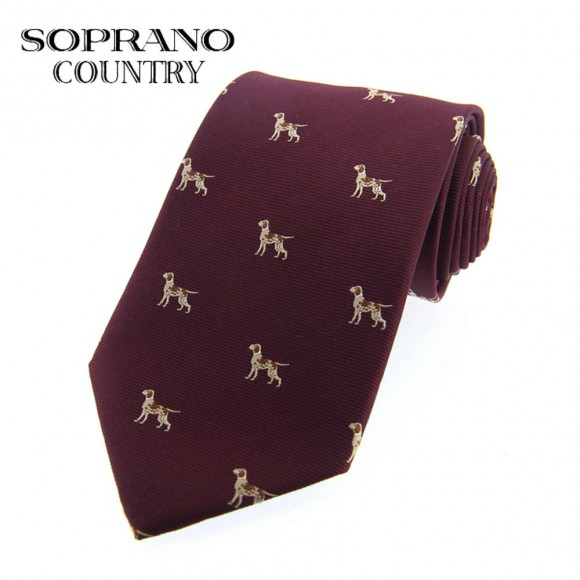 Sax Soprano Dog Woven Silk Shooting Tie