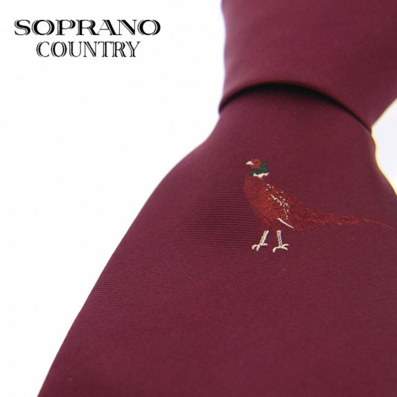 Sax Soprano Single Pheasant Woven Silk Shooting Tie