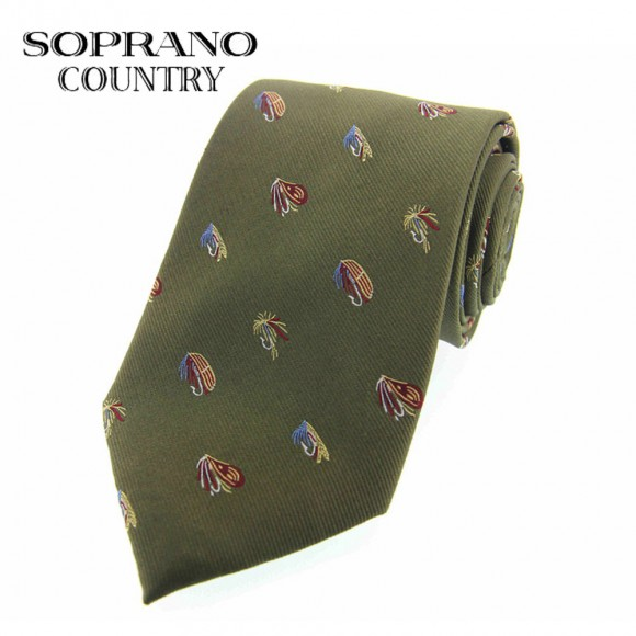 Sax Soprano Assorted Coloured Flies Woven Silk Shooting Tie