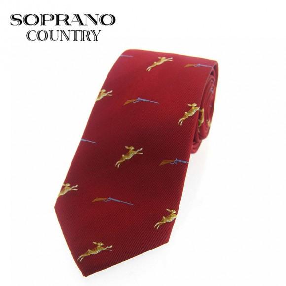 Sax Soprano Rabbit And Gun Woven Silk Shooting Tie