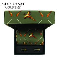 Sax Soprano Pheasant And Gun Green Printed Silk Tie And Cufflink Set