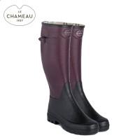 Le Chameau Manoir Jersey Lined Wellington Boots - Cherry/Noir (Ladies)