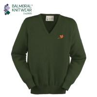 Balmoral Knitwear V-Neck Jumper with Pheasant Motif - Lopase