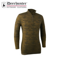 Deerhunter Camou Wool Underwear Zip Neck Beech Green