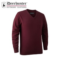 Deerhunter Brighton Knit V Neck Red Melange