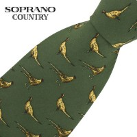 Sax Soprano Pheasant Printed Silk Shooting Tie