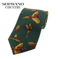 Sax Soprano Flying Pheasant Printed Silk Shooting Tie