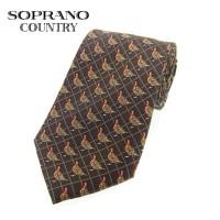 Sax Soprano Red Grouse Printed Silk Shooting Tie