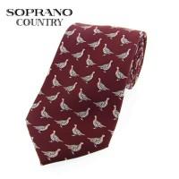 Sax Soprano Grouse Printed Silk Shooting Tie