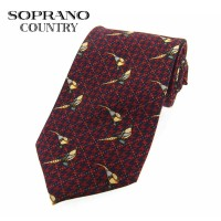 Sax Soprano Pheasant Check Patterned Printed Silk Shooting Tie