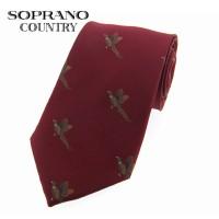 Sax Soprano Flying Pheasant Woven Silk Shooting Tie