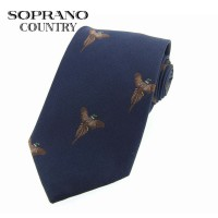 Sax Soprano Flying Pheasants Woven Silk Shooting Tie