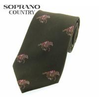Sax Soprano Racing Horse Woven Silk Shooting Tie