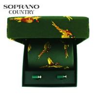 Sax Soprano Pheasant Printed Silk Shooting Tie And Cufflink Set