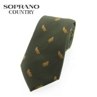 Sax Soprano Standing Grouse Woven Silk Shooting Tie