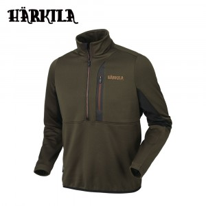 Harkila Tidan Hybrid Half Zip Fleece Jacket Willow Green/BlacK