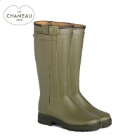 Le Chameau Chasseur Cuir Leather Lined Wellington Boots - Vert Vierzon (Mens)